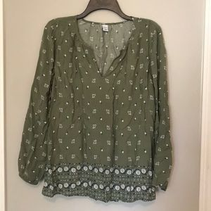 NWOT Old Navy olive green long sleeve blouse
